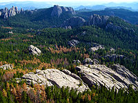 The Black Hills, a low mountain range, is located in Southwestern South Dakota.