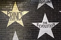 Stars honoring Prince and his band The Revolution on the outside mural of the Minneapolis nightclub First Avenue