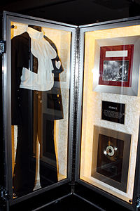 A costume worn by Prince and associated memorabilia, displayed at a Hard Rock Cafe in Australia