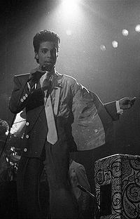 Prince performing during the Parade Tour in Brussels, Belgium in 1986