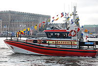 Swedish rescue vessel Drottning Silvia (Queen Silvia) in front of the Royal Castle in Stockholm, Sweden