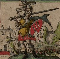 Depiction of the first king of the East Saxons, Æscwine, his shield showing the three seaxes emblem attributed to him (from John Speed's 1611 Saxon Heptarchy)