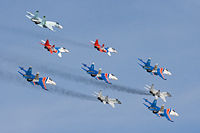 Russian Knights and Swifts aerobatic teams, performing on Su-27s and MiG-29s.