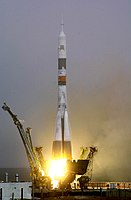 Soyuz TM-31 getting launched, to carry the first resident crew to the International Space Station.