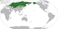 The Russian Empire at its greatest extent, including spheres of influence