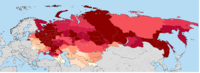 The percentage of ethnic Russians throughout the former Soviet Union according to last censuses