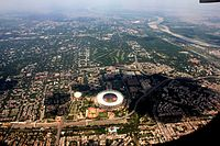 Aerial view of Delhi in April 2016 with river Yamuna in top-right.