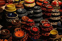 Traditional pottery on display in Dilli Haat