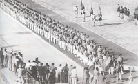 Indian athletes marching into the National Stadium during the opening ceremony of the 1951 Asian Games.