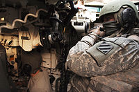 3rd Infantry Division soldiers manning an M1A1 Abrams in Iraq