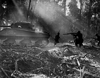 U.S. soldiers hunting for Japanese infiltrators during the Bougainville Campaign
