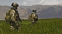 U.S. Army Special Forces soldiers from the 3rd Special Forces Group patrolling a field in the Gulistan district of Farah, Afghanistan