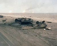 Iraqi tanks destroyed by Task Force 1-41 Infantry during the Gulf War, February 1991