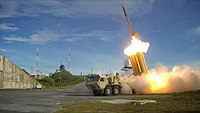A Lockheed Martin Terminal High Altitude Area Defense (THAAD) system used for ballistic missile protection