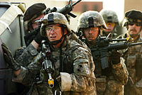 U.S. Army soldiers of the 1st Battalion, 175th Infantry Regiment, Maryland Army National Guard conducting an urban cordon and search exercise as part of the army readiness and training evaluation program in the mock city of Balad at Fort Dix, New Jersey