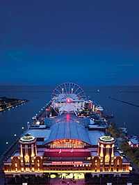 Aerial View of Navy Pier at Night