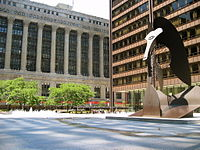 Daley Plaza with Picasso statue, City Hall in background. At right, the Daley Plaza Building contain the state law courts