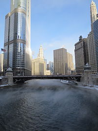 Downtown Chicago and the Chicago River during January 2014 cold wave