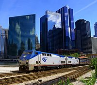 Amtrak train on the Empire Builder route departs Chicago from Union Station