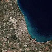 A satellite image of Chicago