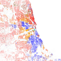 Map of racial distribution in Chicago, 2010 U.S. Census. Each dot is 25 people: White, Black, Asian , Hispanic or Other (yellow)