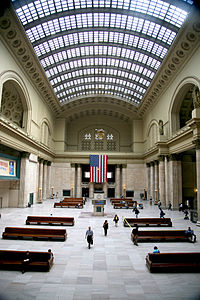 Chicago Union Station, opened in 1925, is the third-busiest passenger rail terminal in the United States