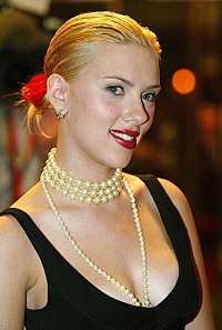 Johansson at the premiere of Girl with a Pearl Earring at Toronto International Film Festival in 2003. She had bleached her eyebrows to better resemble the subject of Johannes Vermeer's painting.