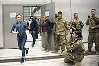 Johansson during the USO Holiday Tour at Bagram Air Base, Afghanistan, 2016