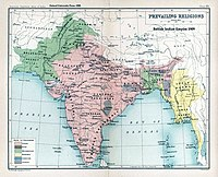 A map of British India, 1909, showing the prevailing majority religions of the population for different districts