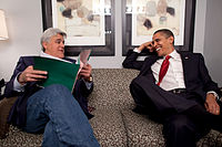Leno with President Barack Obama in March 2009