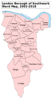 A map showing the wards of Southwark since 2002