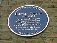 London Borough of Southwark Blue Plaque awarded to famous motorcycle designer Edward Turner unveiled in 2009 at his former residence, 8 Philip Walk, Peckham, London SE15