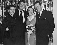 Wedding of Ronald and Nancy Reagan, 1952. Matron of honor Brenda Marshall (left) and best man William Holden (right) were the sole guests.