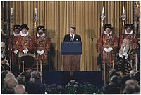 """As the first U.S. president invited to speak before the British Parliament (June 8, 1982), Reagan predicted Marxism–Leninism would end up on the """"ash heap of history""""."""