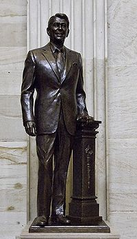 A bronze statue of Reagan standing in the National Statuary Hall Collection