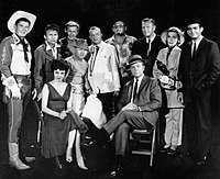 Guest stars for the premiere of The Dick Powell Show, 1961. Reagan can be seen wearing a ten-gallon hat on the far left.