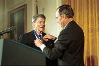 Former President Reagan returns to the White House to receive the Presidential Medal of Freedom from President Bush, 1993