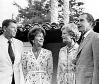 The Reagans meet with President Richard Nixon and First Lady Pat Nixon, July 1970