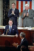 Reagan addresses Congress on the Program for Economic Recovery, April 28, 1981 (a few weeks after surviving an assassination attempt)