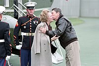 British Prime Minister Margaret Thatcher (here with Reagan in 1986) granted the U.S. use of British airbases to launch the Libya attack.