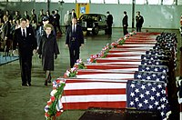 Reagan (far left) and First Lady Nancy Reagan pay their respects to the 17 American victims of the April 18 attack on the U.S. embassy by Hezbollah in Beirut, 1983
