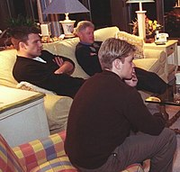 Affleck and Matt Damon attend a Camp David screening of Good Will Hunting with President Bill Clinton in 1998.