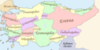 A map of the independent beyliks in Anatolia during the early 1300s.