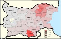 Map of the Turkish population in Bulgaria