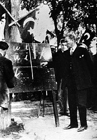 Atatürk introducing the Turkish alphabet to the people of Kayseri. 20 September 1928. (Cover of the French L'Illustration magazine)