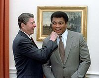 President Ronald Reagan with Ali in the Oval Office in 1983