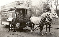 London Tramways two-horse tram, about 1890.