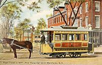 Manchester, New Hampshire's first horsecar, dating from 1877, and on display about 1908.