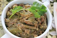 Bamboo is common in Manipur, and an important contributor to its economy as well as cuisine. Above is soibum yendem eromba, a bamboo shoot cuisine of Manipur.