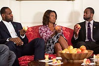 James, First Lady Michelle Obama, and Dwyane Wade tape a public service announcement in January 2014